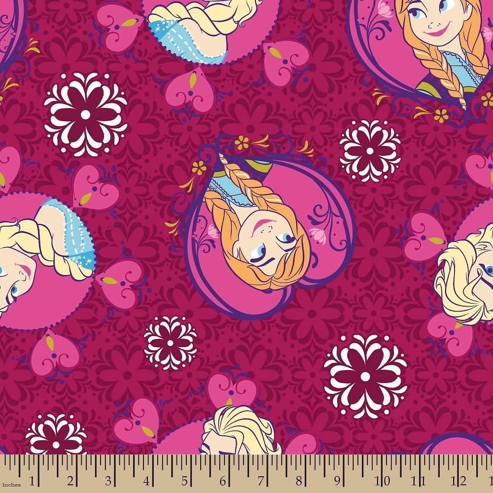 Frozen Framed Sisters Toss Minky Fabric, Pink