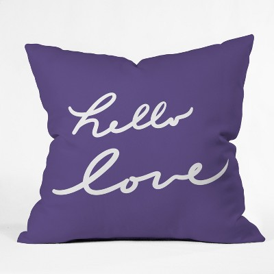 "18""x18"" Lisa Argyropoulos Hello Love Throw Pillow Purple - Deny Designs"