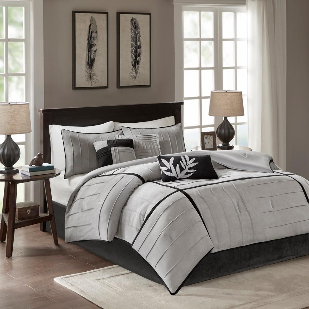 Gray Landcaster Microsuede Pleated Comforter Set Queen 7pc