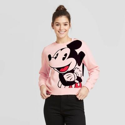Women's Disney Jumbo Mickey Cropped Sweatshirt (Juniors') - Pink M
