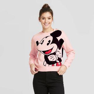 Women's Disney Jumbo Mickey Cropped Sweatshirt (Juniors') - Pink S