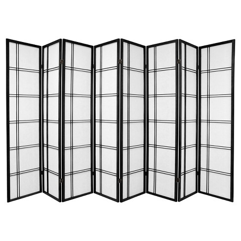 6 ft. Tall Double Cross Shoji Screen - Black (8 Panels) - image 1 of 1