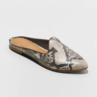 Women's Faux Leather Printed Mules   Universal Thread by Universal Thread