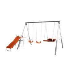 Sportspower Gladstone Metal Swing and Slide Set -Gray/Orange