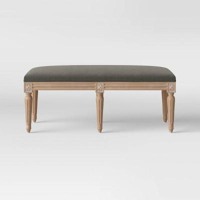 Erwin Turned Wood Leg Bench Charcoal Gray - Threshold™