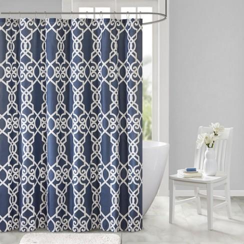 Noland Printed Shower Curtain Dark Navy