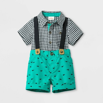 Baby Boys' Woven Top and Bottom Set - Cat & Jack™ Green/Black 0-3M