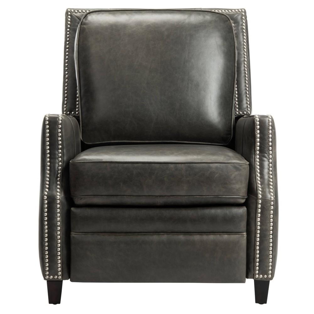 Buddy Leather Recliner Dark Gray Safavieh