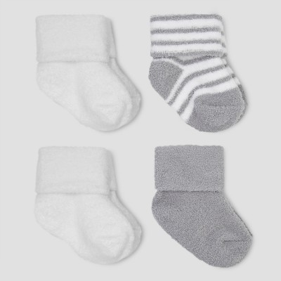 Baby Boys' 4pk Chenille Socks - Just One You™ Made by Carter's® Gray/White 0-3M
