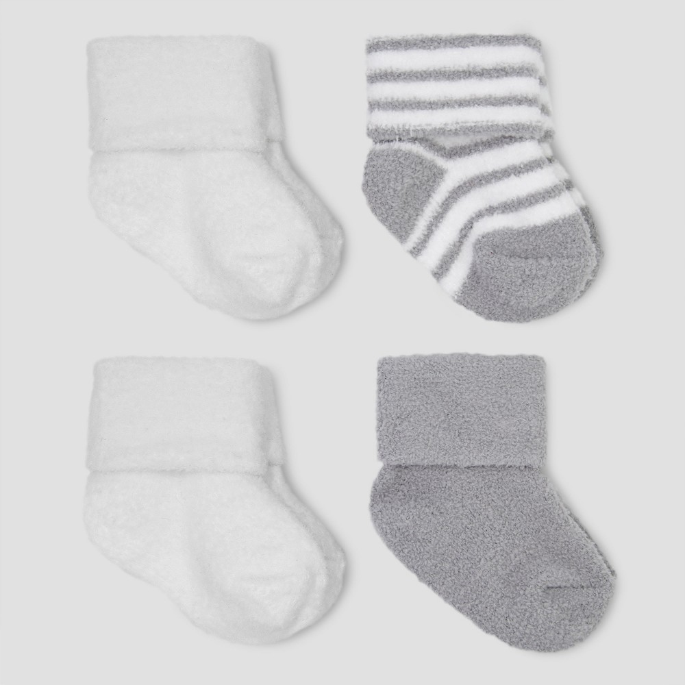 Baby Boys 4pk Chenille Socks Just One You 174 Made By Carter S Gray White 0 3m