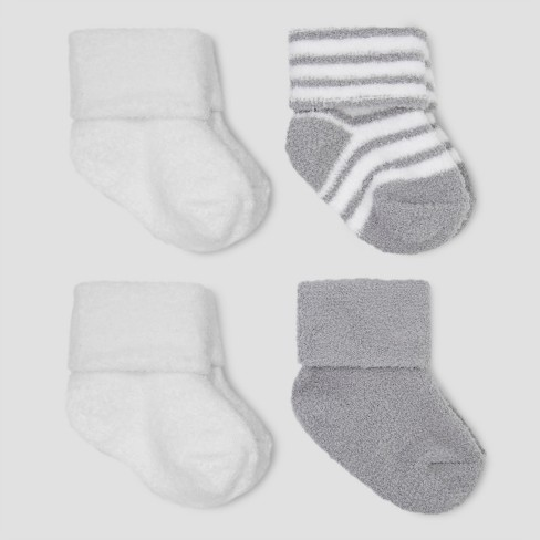 Baby Boys' 4pk Chenille Socks - Just One You™ Made by Carter's® Gray/White 0-3M - image 1 of 1