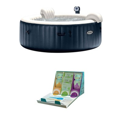 Kit Jacuzzi.Intex 6 Person Inflatable Portable Bubble Hot Tub W Trio Water Softening Kit