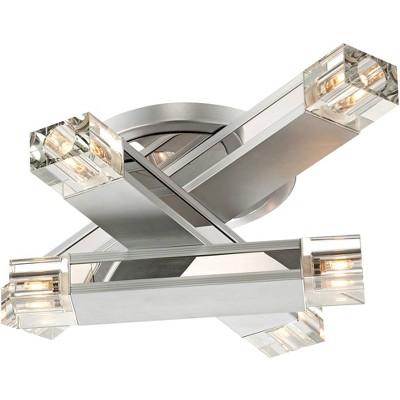 "Possini Euro Design Modern Ceiling Light Flush Mount Fixture Aluminum Gray 19 3/4"" Wide 6-Light Three Stacked Rods Bedroom Kitchen"