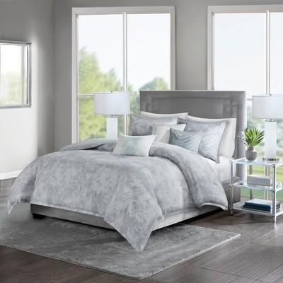 Karlene Cotton Sateen Duvet Cover Set Gray