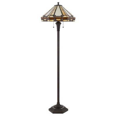 """59.25"""" Resin Transitional Floor Lamp with Tiffany Glass Shade - Cal Lighting"""