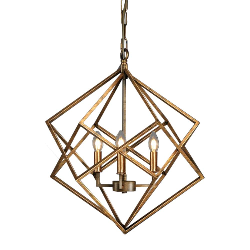 Vista Geometric Chandelier Ceiling Light Antique Gold - Thy-Hom