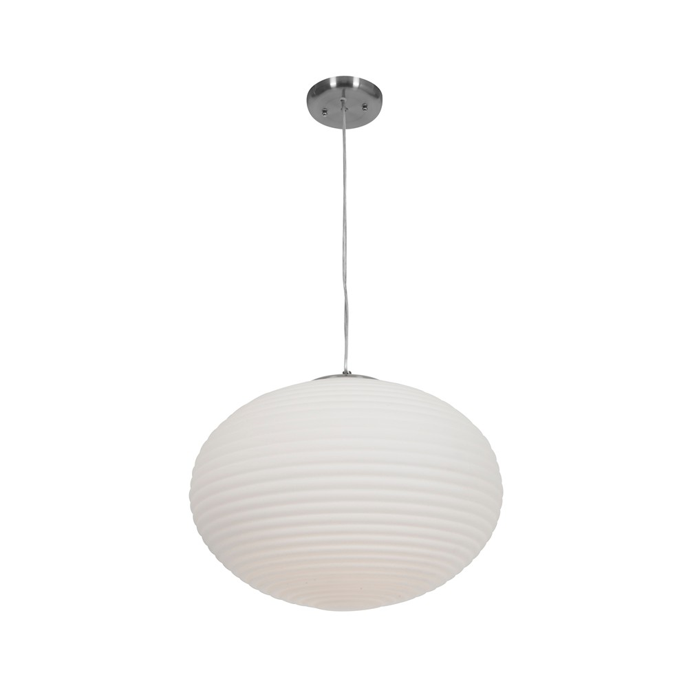 Image of Access Lighting Callisto 3 Light Pendant Brushed Steel Finish Opal Glass Shade Ceiling Lights Silver