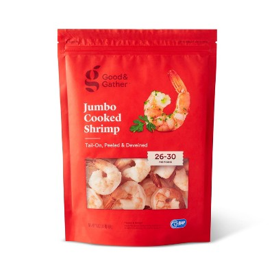 Jumbo Tail On Peeled & Deveined Cooked Shrimp - Frozen - 26-30ct/16oz - Good & Gather™