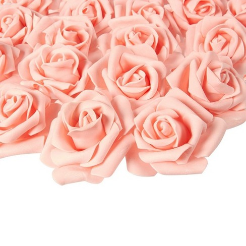 Juvale Rose Flower Heads - 100-Pack Stemless Artificial Roses, Perfect Wedding Decorations, Baby Showers, Crafts - Peach, 3 x 1.25 x 3 inches - image 1 of 3