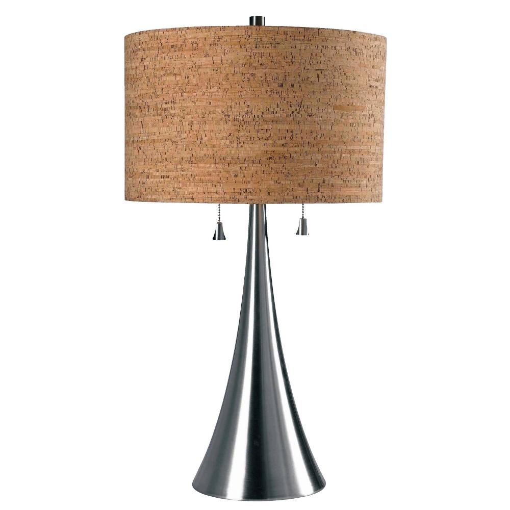 Kenroy Home Brushed Steel Finish Bulletin Table Lamp