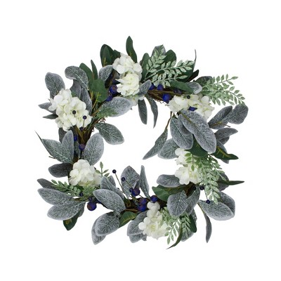 Northlight Iced Hydrangeas, Blueberries, and Foliage Artificial Christmas Wreath - 26 Inch, Unlit