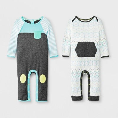 Baby Boys' 2pc Geo Romper Set - Cloud Island™ Gray/Turquoise 3-6M
