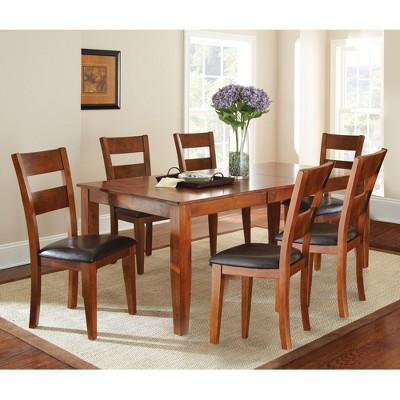 7pc Amanda Extendable Dining Table Set Medium Brown - Steve Silver