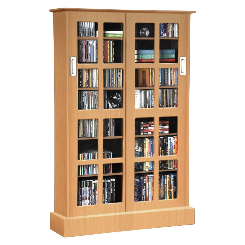 Windowpane Cabinet Media Storage - Maple (Brown) - Atlantic