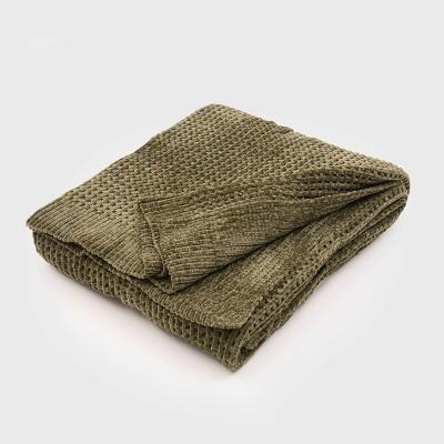 "50""x60"" Shiny Waffle Chenille Knit Throw Blanket - Evergrace"