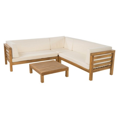 Oana 4pc Acacia Wood Sectional Chat Set W Cushions Beige Christopher Knight Home Target