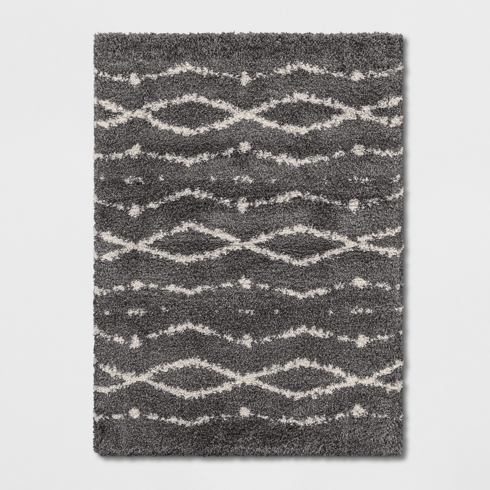 9'2X12' Woven Diamond Area Rug Gray - Project 62