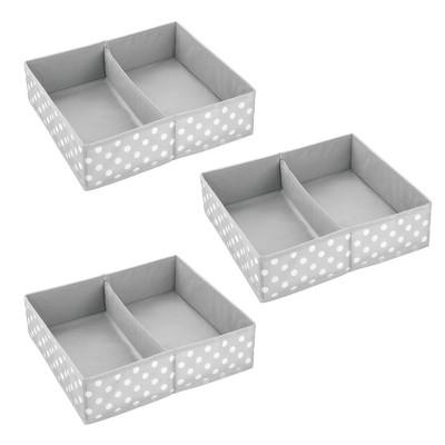 mDesign Fabric Dresser Drawer Organizer, 2 Section, 3 Pack