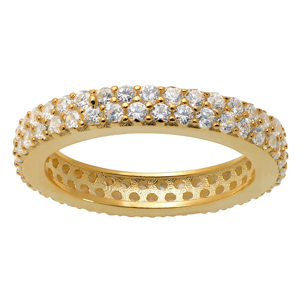 2/5 CT. T.W. Round-Cut CZ Pave Set Polished Band in Sterling Silver - Gold, 7, Girl's
