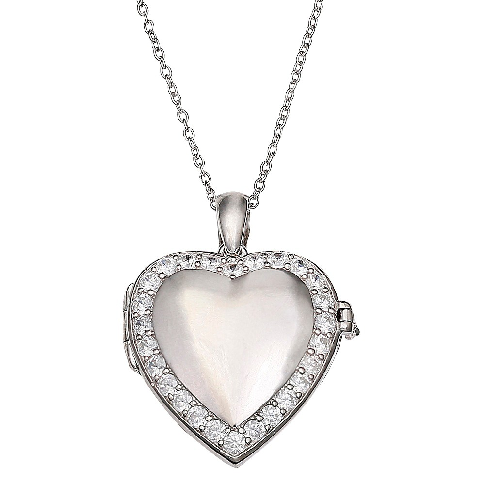 Women's Polished Heart Locket with Pave Cubic Zirconia Stones in Sterling Silver - Clear/Silver