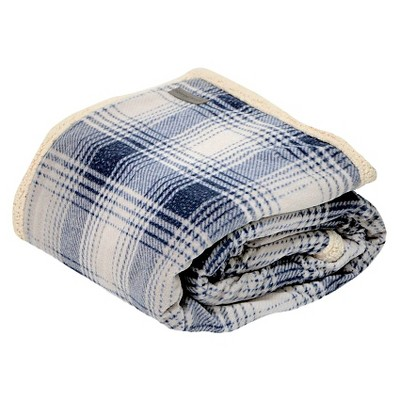 "50""x70"" Nordic Plaid Sherpa Throw Blanket Blue - Eddie Bauer"