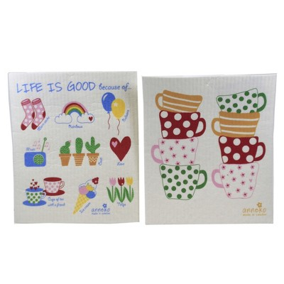 "Swedish Dish Cloth 7.75"" Sweetheart Mugs & Life Is Good Eco-Friendly Absorbant  -  Dish Cloth"