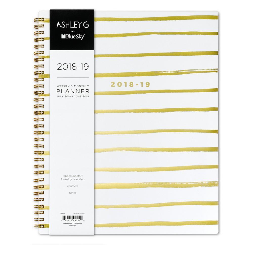 2018-19 Academic Gold Foil Striped Planner 8.5 x 11 White - Ashley G
