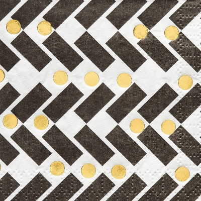 40ct Small Beverage Napkins Black/Gold - Papyrus