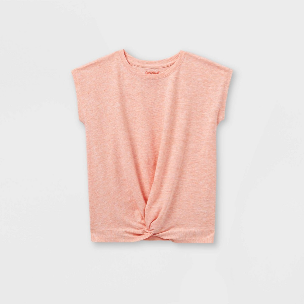 Girls 39 Twist Front Short Sleeve T Shirt Cat 38 Jack 8482 Peach S