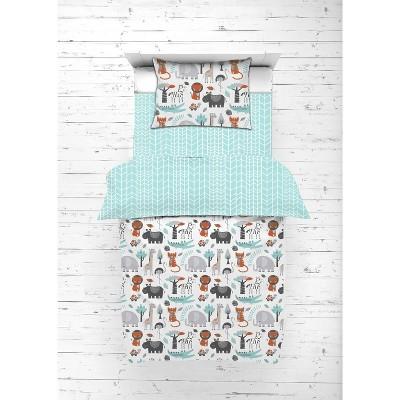 Bacati - Safari Animals Aqua/Orange/Gray 5 pc Toddler Bedding Set