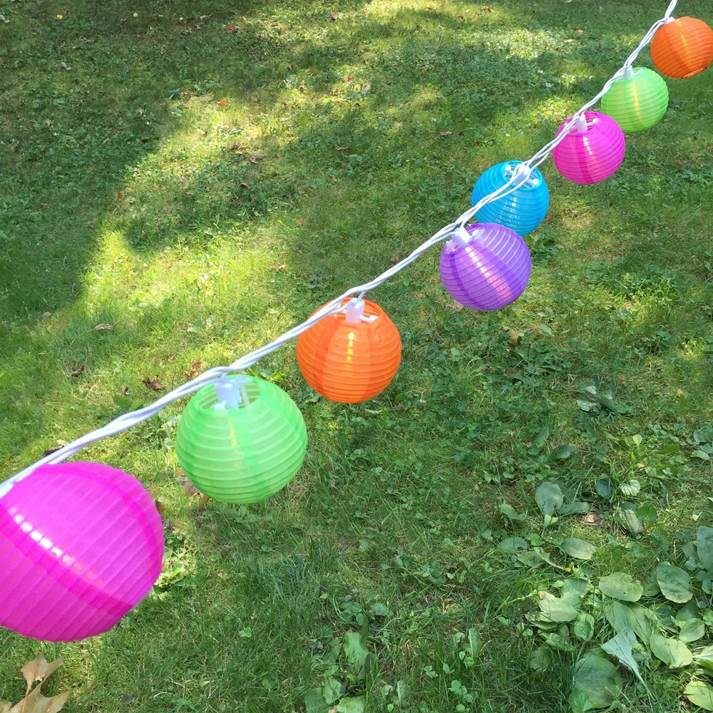 Image of 10ct Electric String Lights with 3x7' Nylon Lanterns- Multi Color, Multi-Colored
