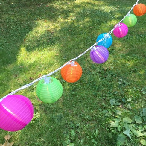 """10ct Electric String Lights with 3""""x7' Nylon Lanterns- Multi Color - image 1 of 3"""