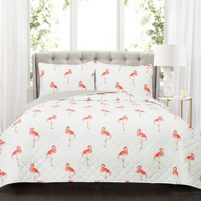 Full/Queen Kelly Flamingo Quilt Set Coral - Lush Décor