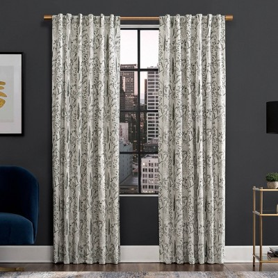 Aubry Shimmering Floral Blackout Back Tab Curtain Panel - Scott Living