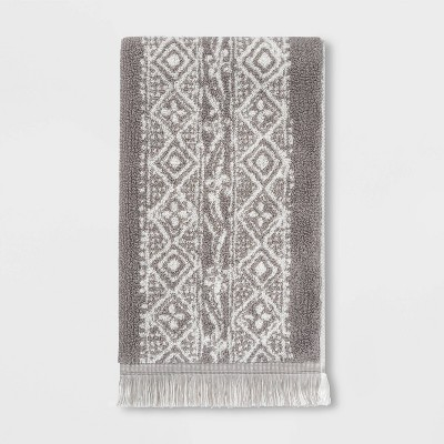 Stamped Geo Hand Towel Gray - Threshold™