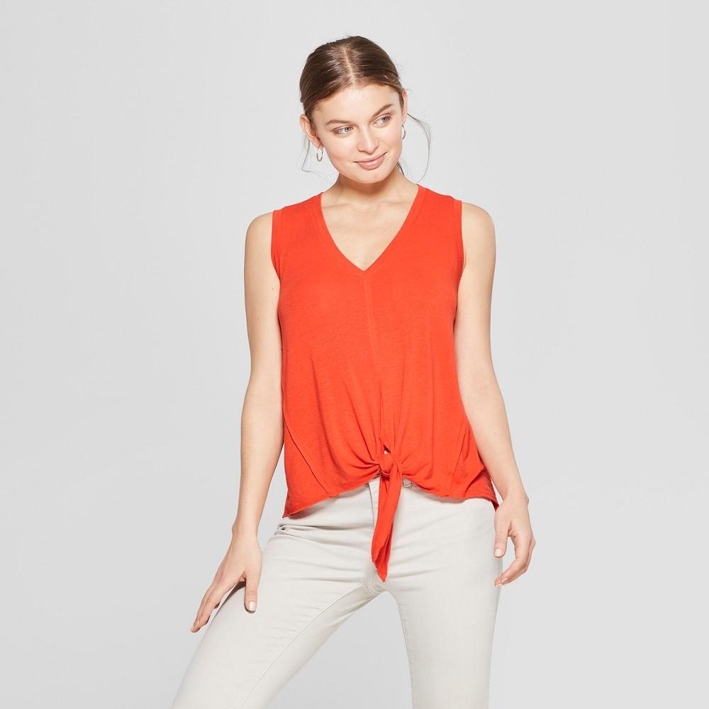 Women's V-Neck Tie Front Tank - Universal Thread Orange M