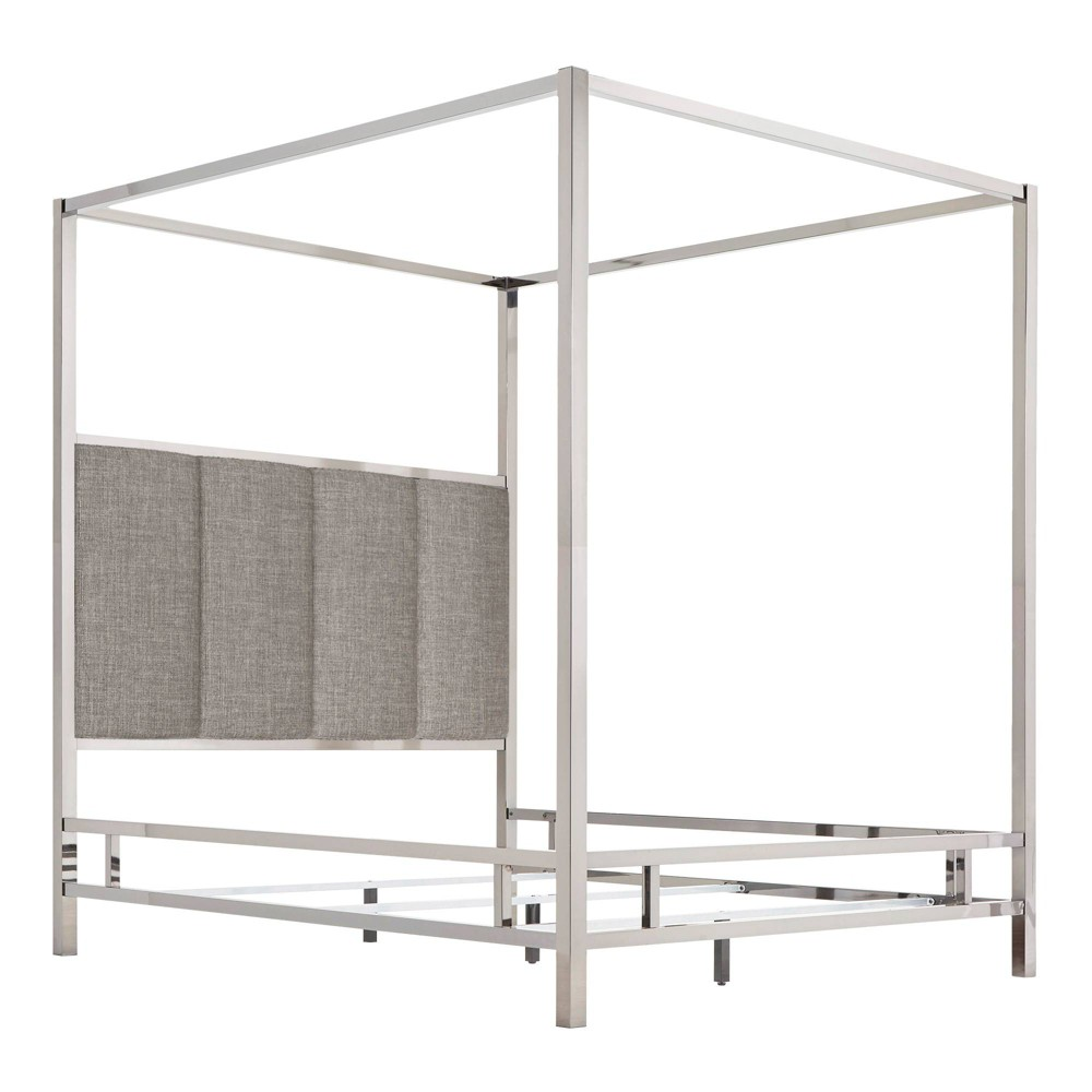 Full Manhattan Canopy Bed with Vertical Panel Headboard Smoke (Grey) - Inspire Q