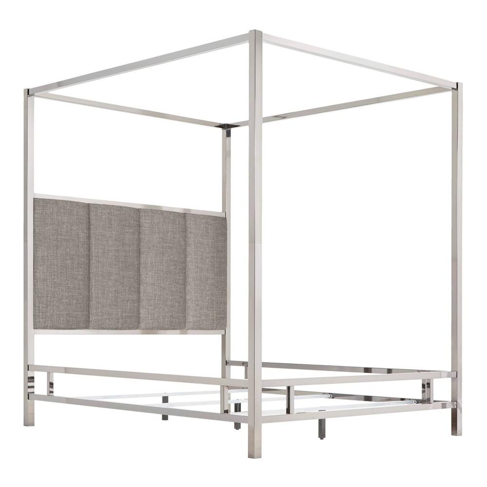 Queen Manhattan Canopy Bed with Vertical Panel Headboard Smoke (Grey) - Inspire Q