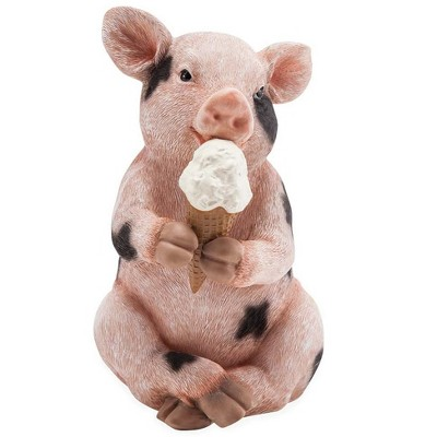 Wind & Weather Piggy With An Ice Cream Cone Sculpture