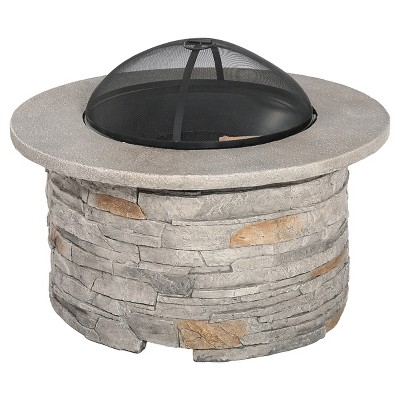 Channing 36.25   Wood Burning Patio Fire Pit - Round - Natural Stone - Christopher Knight Home